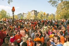 Amsterdam celebrating queensday. On the 30th of april 2011 in the Netherlands Royalty Free Stock Photo
