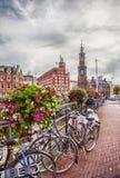 Amsterdam Center at Doelensluis Bridge Royalty Free Stock Images