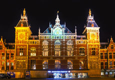 Amsterdam Centraal railway station. In the night Royalty Free Stock Images