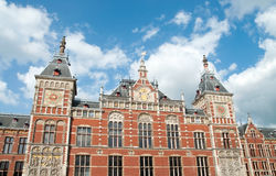 Amsterdam Centraal Station. Brick facade of Amsterdam Centraal Train Station Stock Photography