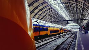 Amsterdam Centraal station. The central railway station in Amsterdam, Netherlands Stock Photos