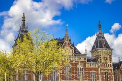 Amsterdam Centraal station. Detail of Amsterdam Centraal station in Netherlands Stock Image