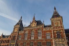 Amsterdam Centraal station. Facade of Amsterdam Centraal Station Stock Photos