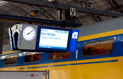Amsterdam Centraal Station. Panel and train in Amsterdam Centraal Station, Netherlands Royalty Free Stock Photography