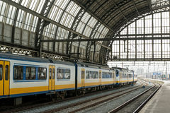 Amsterdam centraal. Train inside Amsterdam Centraal train station Royalty Free Stock Image