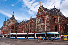 Amsterdam Central Railway Station. On a Beautiful Day Royalty Free Stock Photos