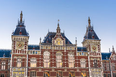 Amsterdam central railway station in Netherlands. Royalty Free Stock Images