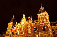 Amsterdam Central Railway Station. By Night Royalty Free Stock Images