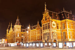 Amsterdam Central Railway Station. By Night Royalty Free Stock Image