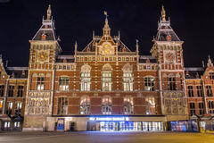 Amsterdam Central Station. Amsterdam Centraal is the central railway station of Amsterdam. It is also one of the main railway hubs of the Netherlands and is used Stock Photo