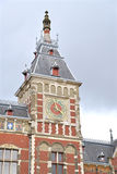 Amsterdam Central Station Clock Tower Stock Images
