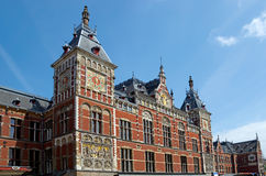 Amsterdam - Central Station. Facade of Central Station in Amsterdam the Netherlands Stock Images