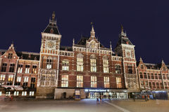 Amsterdam Central Station at night. Royalty Free Stock Image