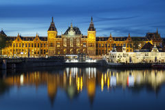 Amsterdam Central Station by night Stock Image