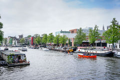 Amsterdam Centrumlivsstil Arkivbild