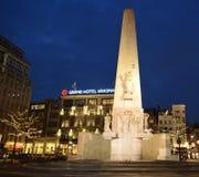 Amsterdam Centrumminnesmärke Arkivbilder