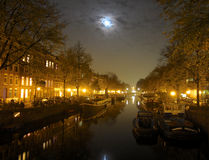 Amsterdam channel at night Royalty Free Stock Photo