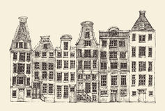 Amsterdam, city architecture, vintage engraved illustration Royalty Free Stock Photography