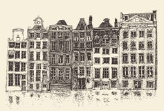 Amsterdam, city architecture, vintage engraved illustration Stock Photography