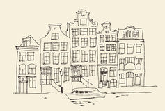 Amsterdam, city architecture, vintage engraved illustration Royalty Free Stock Image