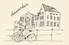Amsterdam, city architecture, vintage engraved illustration Royalty Free Stock Photos