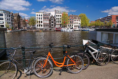 Amsterdam city with bike in Holland Royalty Free Stock Photography