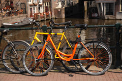 Amsterdam city with bikes in Holland Royalty Free Stock Photo