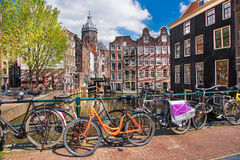 Amsterdam city with bikes in Holland Royalty Free Stock Photos