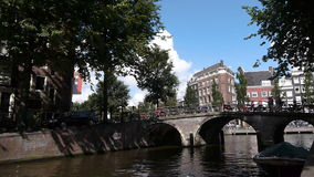 Amsterdam city, bridge over a canal. Bridge over a canal in the center city of historical Amsterdam stock footage