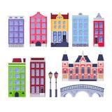 Amsterdam city buildings landmark. Multicolor holland old houses. Vector cartoon illustration. Travel design elements stock illustration