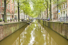 Amsterdam city canal on a cloudy autumn day Royalty Free Stock Images