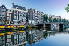 Amsterdam. City Canal at dawn. royalty free stock images