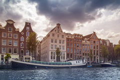 Amsterdam city and canal Stock Photography