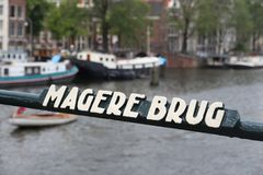 Amsterdam - Magere Brug. Amsterdam city detail - close up of Magere Brug (Skinny Bridge stock photo