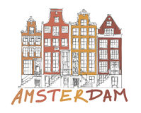Amsterdam City Drawing. Hand Drawn Detail Amsterdam Architecture Drawing. Colorful on White Royalty Free Stock Photo