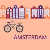 Amsterdam city flat art. Travel landmark, architecture of netherlands, Holland houses, european building isolated set, bike Royalty Free Stock Images