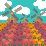 Amsterdam city flat art. Travel landmark, architecture of netherlands, Holland houses, windmill in tulips Royalty Free Stock Photos