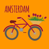 Amsterdam city flat art. Travel landmark, Netherlands bicycle, Holland bike and flowers vector illustration