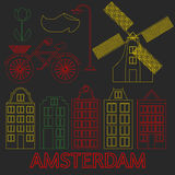 Amsterdam city flat line art. Travel landmark, architecture of netherlands, Holland houses, european building isolated set, nightl Stock Image