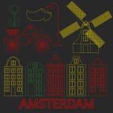 Amsterdam city flat line art. Travel landmark, architecture of netherlands, Holland houses, european building isolated set, nightl. Ife neon light Stock Image