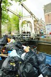 Amsterdam city full of garbage Royalty Free Stock Photo