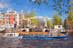 Amsterdam city in Holland, artwork in painting style Stock Photography