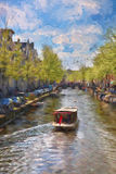 Amsterdam city in Holland, artwork in painting style Royalty Free Stock Image