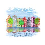 Amsterdam city illustration with watercolor hand drawn old european houses, trees and reflections in water. Amsterdam city illustration with watercolor hand vector illustration