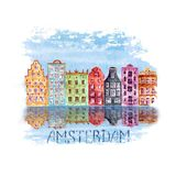 Amsterdam city illustration with watercolor hand painted old european houses and reflections in water. On blue teal stain isolated on white background vector illustration