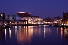 Amsterdam city  in the Netherlands by night Royalty Free Stock Images