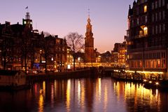 Amsterdam city  in the Netherlands by night Stock Image