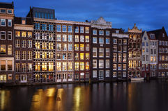 Amsterdam city by night Royalty Free Stock Photo