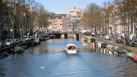 Amsterdam city on the river Amstel stock footage