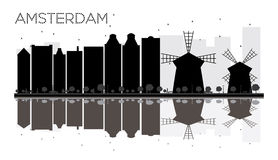 Amsterdam City skyline black and white silhouette with reflections. royalty free illustration